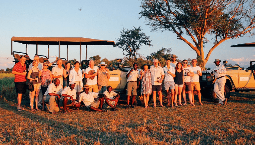 Family on safari in the Okavango Delta