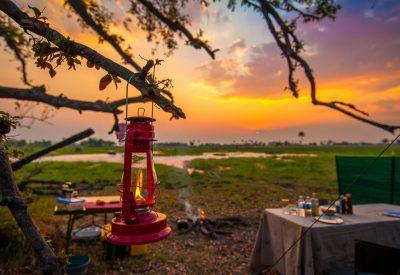 Botswana adventure camping safari sunset