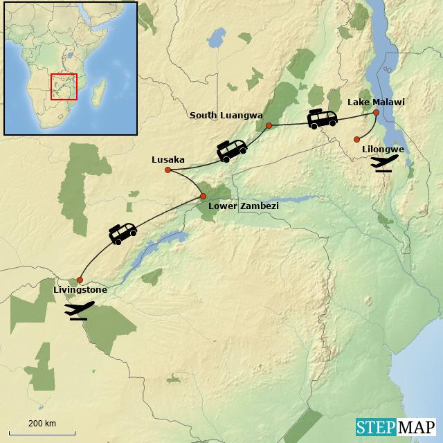 Zambia & Malawi Exploration - Map